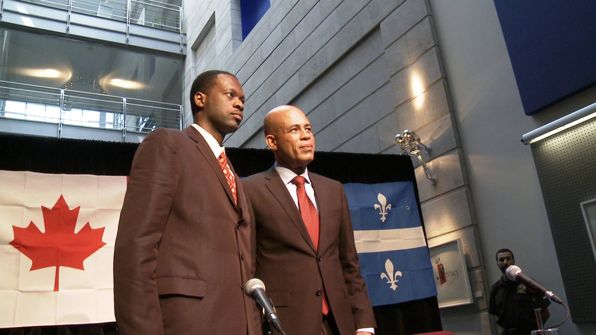 """The Fugees' Pras Michel (left) and Michel """"Sweet Micky"""" Martelly after a presidential candidacy announcement in Canada. Image taken from """"Sweet Micky for President."""""""