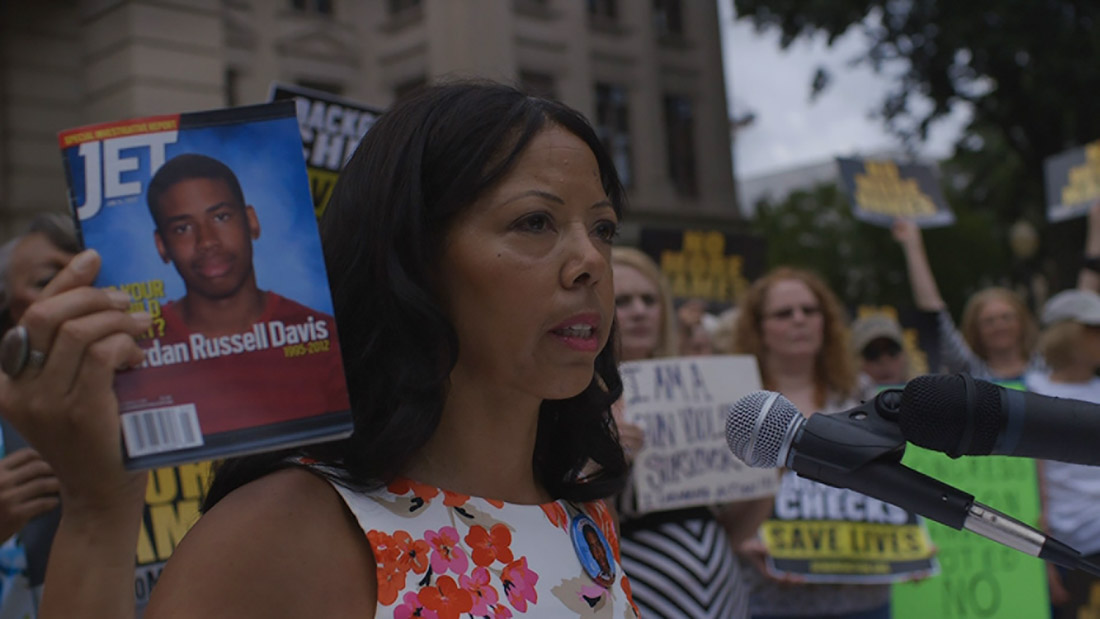 Jordan Davis's mother Lucia McBath campaigning against gun violence after her son's murder. Courtesy of Participant Media.