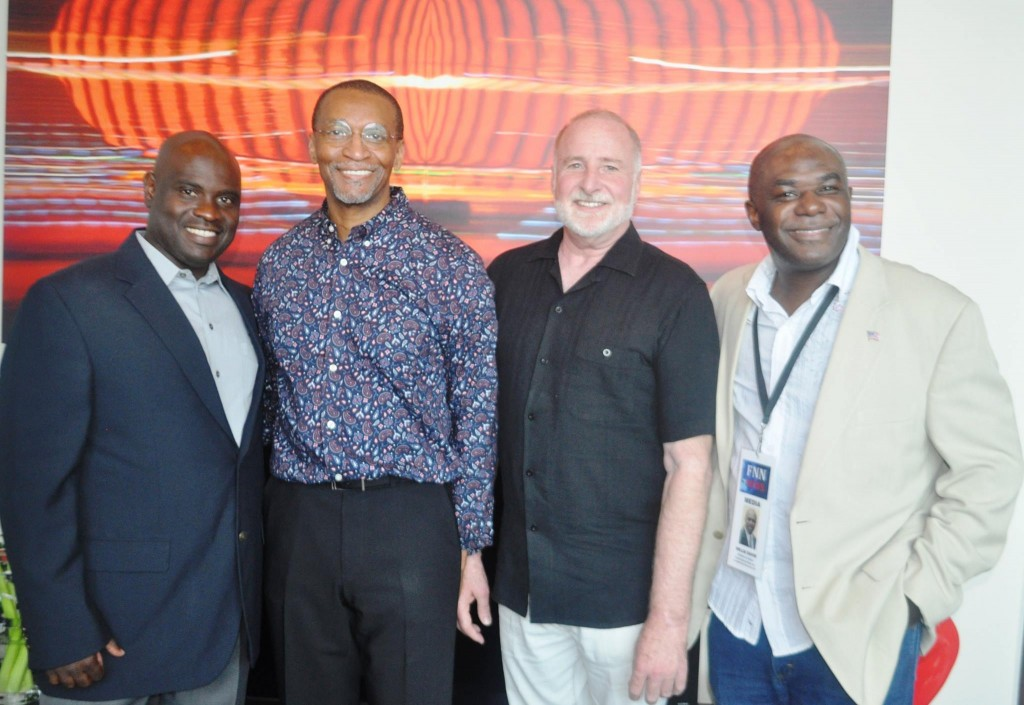 Cultural Fusion Theater Productions founder Kenneth Brown (2nd left) and Bob Poe (2nd right) with Fierce Entertainment Management CEO Rob Henlon (far left) and Florida National News CEO J. Willie David, III. Source: Florida National News.