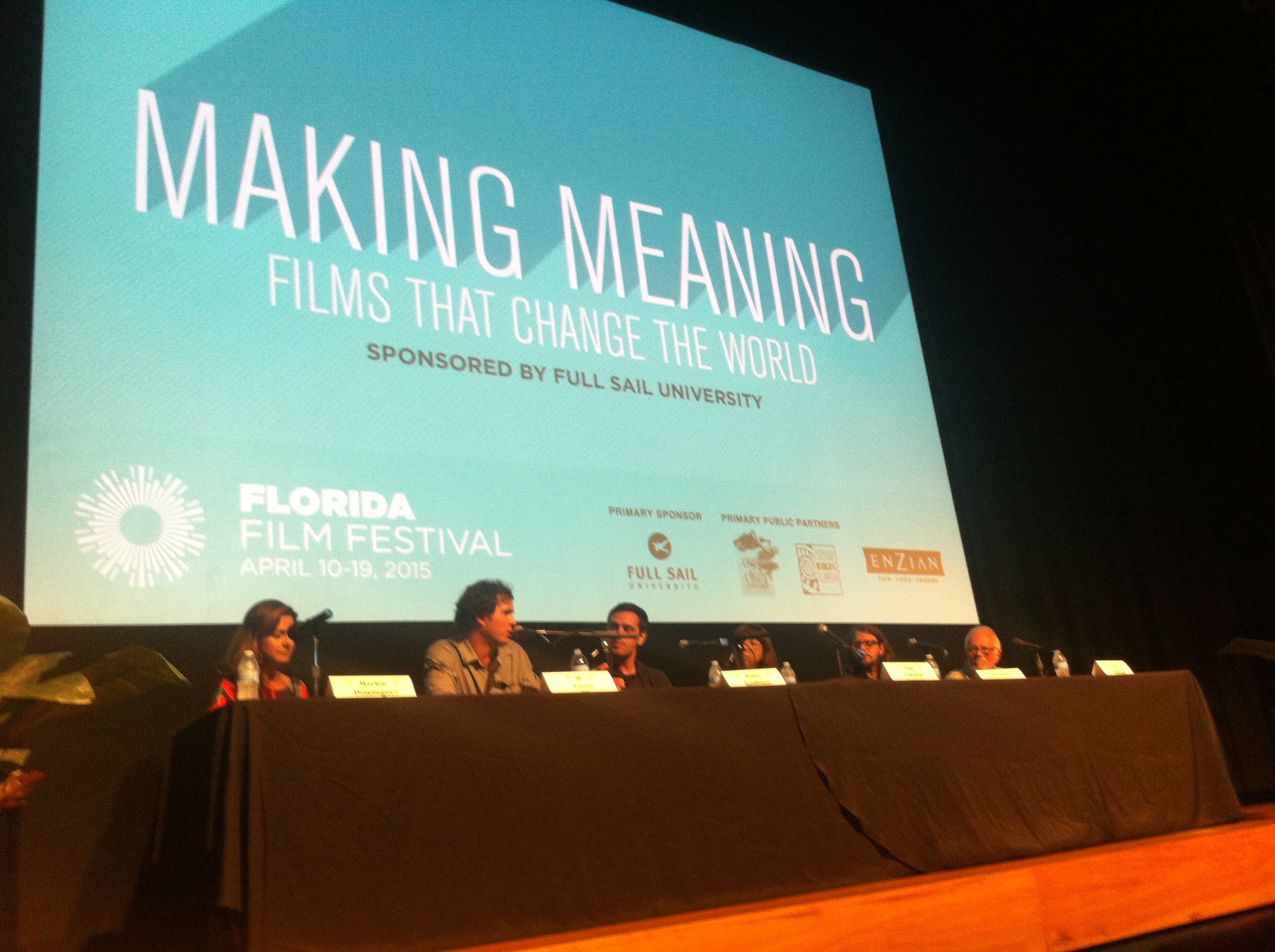 "The ""Making Meaning: Films that Change the World"" discussion panel at the 2015 Florida Film Festival. Photo by Mellissa Thomas."