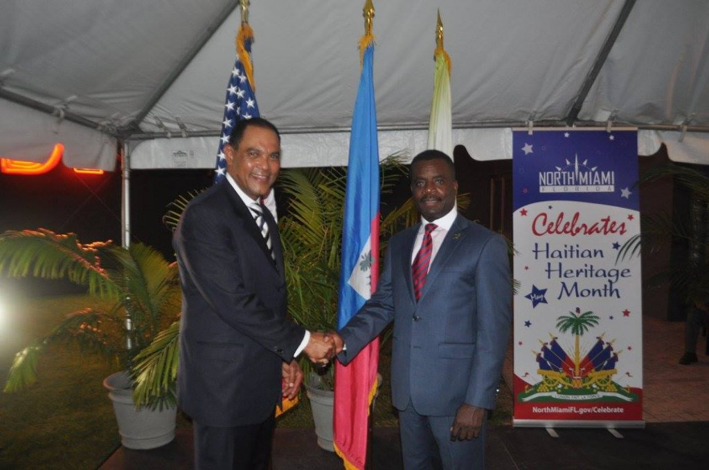 Ambassador Rudy Moise with North Miami Mayor Smith Joseph at the North Miami Hall of Fame induction ceremony. Source: J. Willie David III/Florida National News.