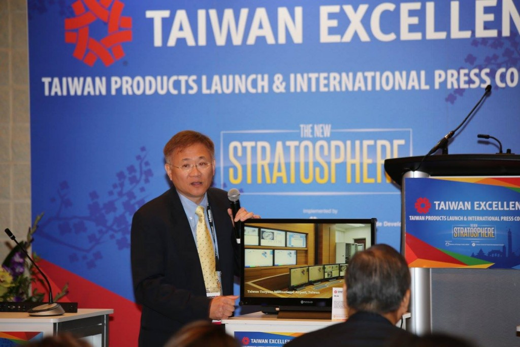 AG Neovo Sales & Marketing Director David Meng presents his company's sturdy 1920 x 1080 HD display at the Taiwan Excellence Products Launch and International Press Conference at InfoComm 2015. Photo: J. Willie David III/Florida National News.