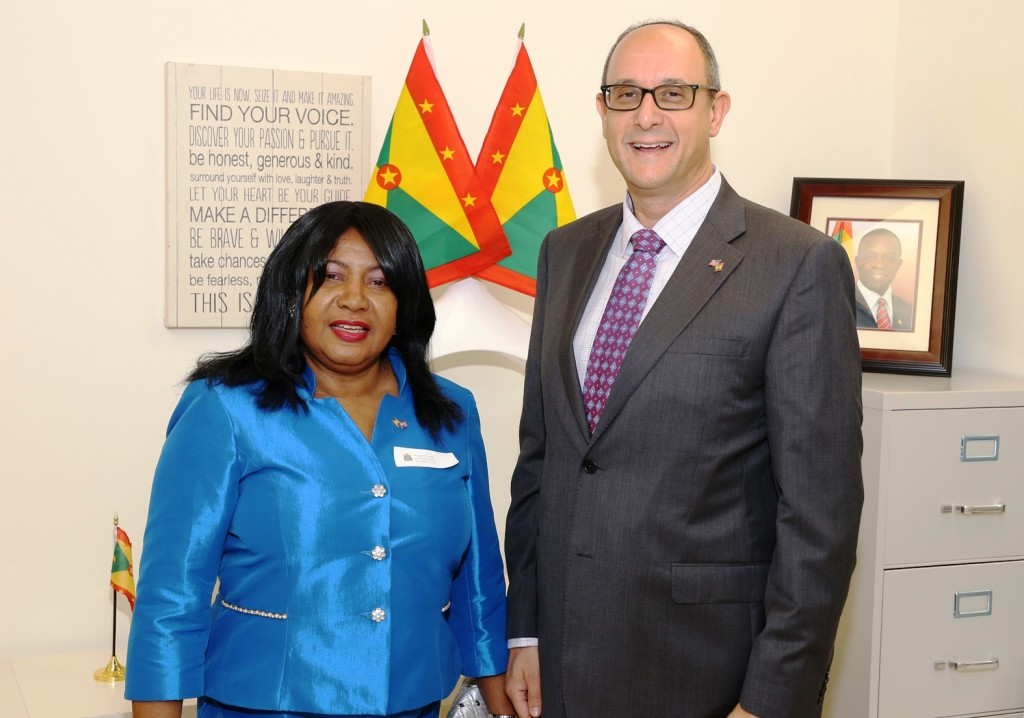 Consul General Newfield (right) and Grenadian cultural attache Margaret Lessey at the launch of the Grenada Consulate on Miami Beach. Photo: Florida National News.