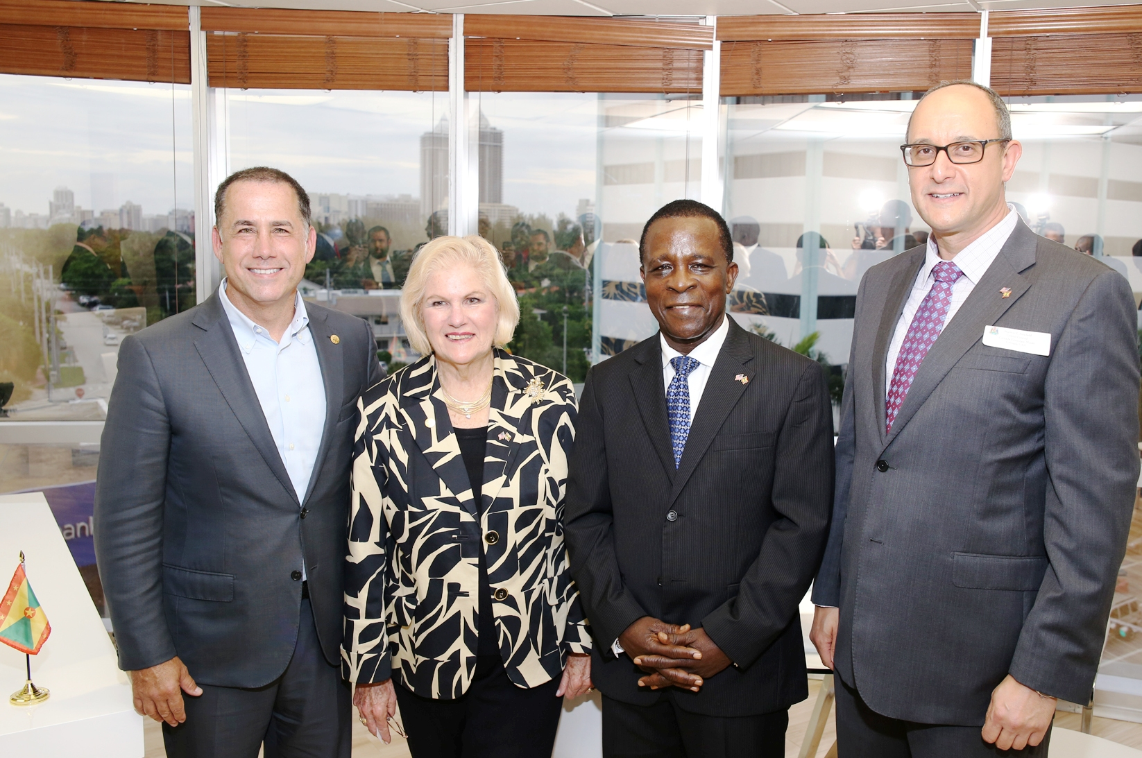 Mayor Philip Levine, City Commissioner Joy Malakoff, Grenada's Prime Minister Keith Mitchell and newly appointed Consul General Warren E. Newfield at the opening ceremony of the first Consulate in the City of Miami Beach. Photo: Florida National News.