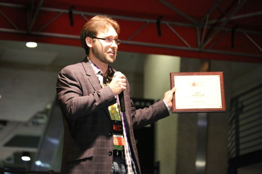 "Director Jarek Zabczynski accepts the Best Short award for ""Jack is Pretty"" at the OFFX Award Ceremony Saturday. Photo: J. Willie David III/Florida National News."