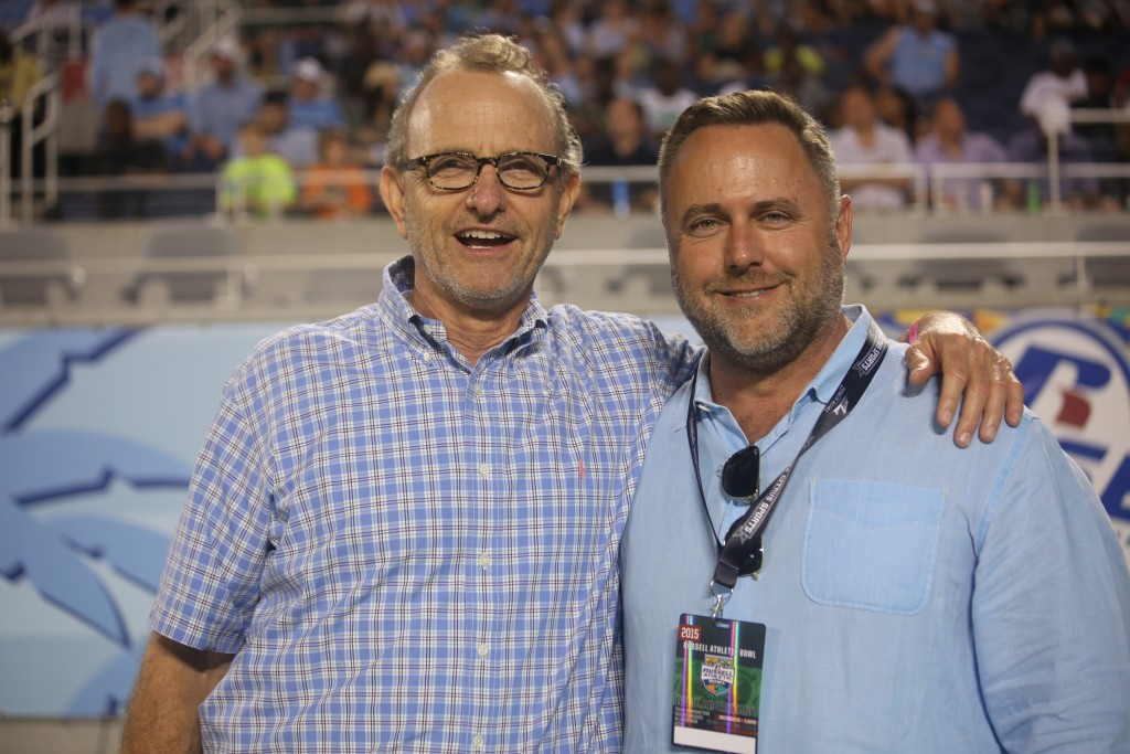 Orange County Commissioners Todd Edwards (District 5) and Scott Boyd (District 1) were rooting for the Tar Heels during the Russell Athletic Bowl at Orlando Citrus Bowl Tuesday. Photo: J. Willie David III/Florida National News.