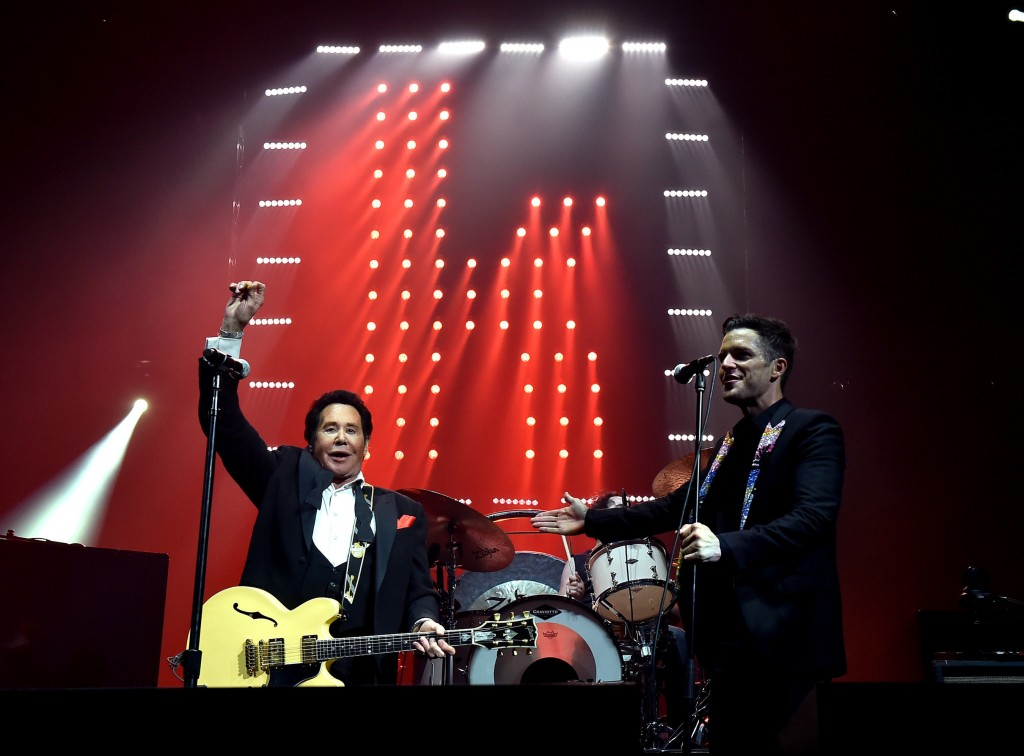 """Mr. Las Vegas, Wayne Newton, joined The Killers during their set for a collaboration of """"Johnny B. Goode."""" Photo credit: Kevin Winters / Getty (PRNewsFoto/T-Mobile Arena)"""