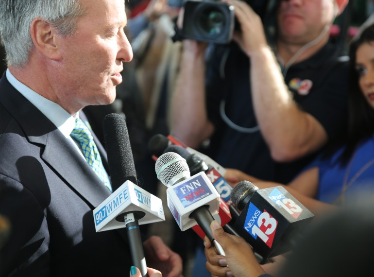 FILE - Orlando Mayor Buddy Dyer addresses the media after his 2016 State of the City Address. File photo: Willie David/Florida National News.
