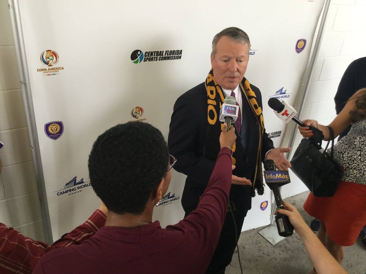 ORLANDO (FNN SPORTS): Orlando Mayor Buddy Dyer, Orange County Mayor Teresa Jacobs, Phil Rawlins welcome Copa America 2016 to Orlando. Photo: J. Willie David III/Florida National News.