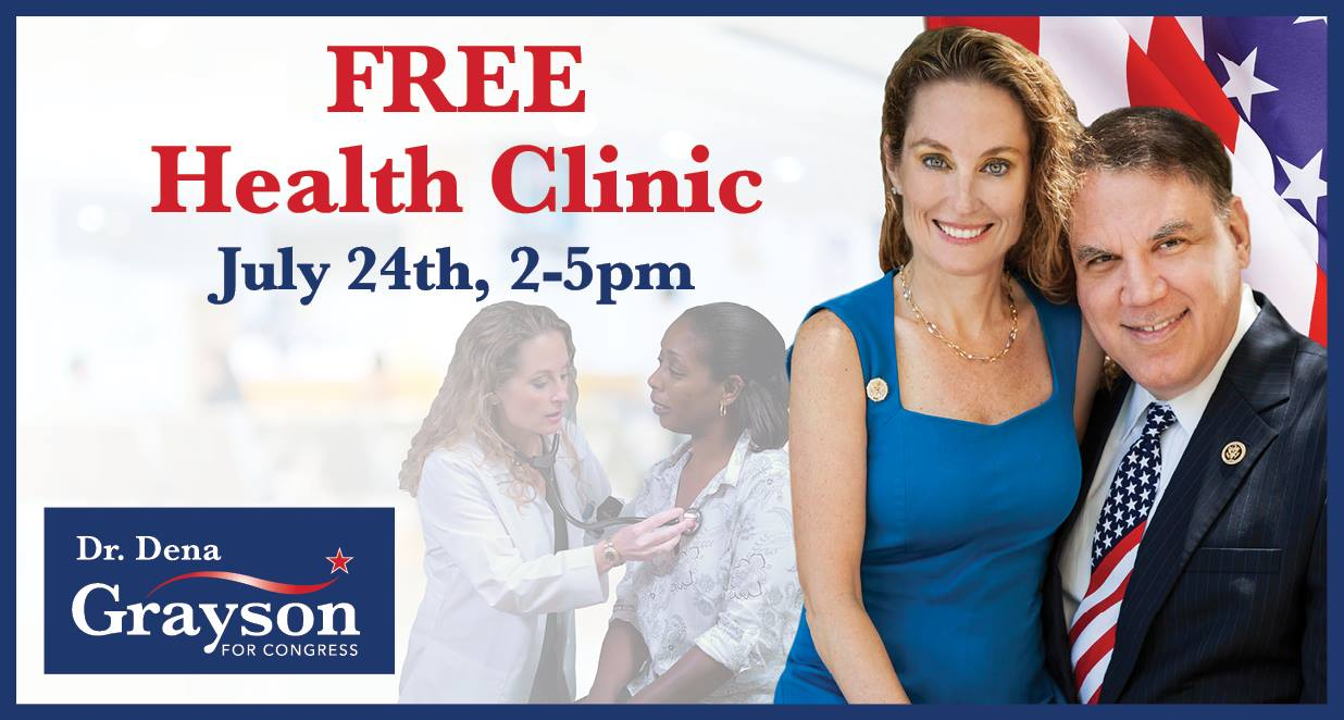 ORLANDO (FNN NEWS) - Engelwood Neighborhood Center and Dr. Dena Grayson present free health clinic 2pm-5pm Sunday, July 24, 2016. Image: Dr. Dena Grayson for Congress campaign.