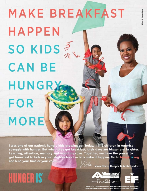 "LOS ANGELES (FNN NEWS) - Emmy Award®-winning actress Viola Davis teams with the Albertsons Companies Foundation and the Entertainment Industry Fund to produce new ""Hungry for More"" child hunger campaign for Hunger Is. Image: Peggy Sirota for Hunger Is."