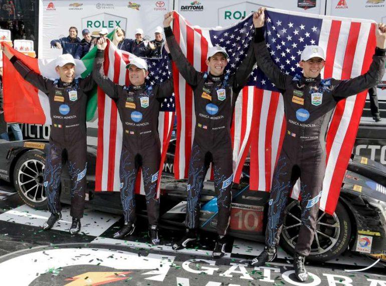 DAYTONA (FNN SPORTS) - Max Angelelli, Jeff Gordon, Ricky Taylor and Jordan Taylor celebrate Rolex 24 At Daytona victory Sunday. Photo: John Raoux/AP.