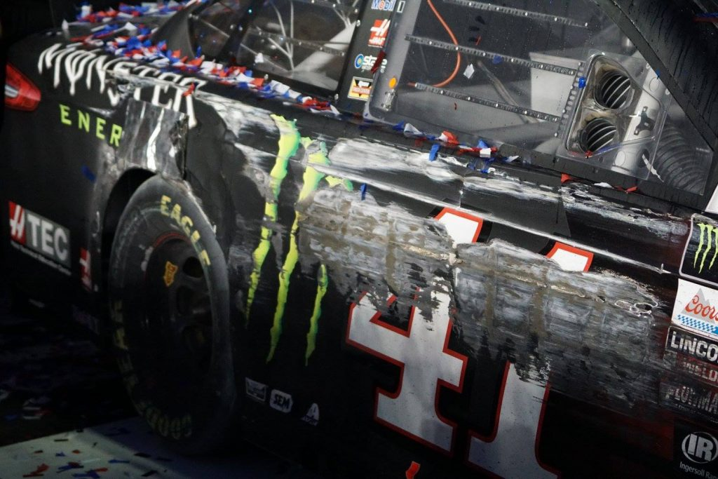 DAYTONA, Fla. (FNN SPORTS) - Kurt Busch (#41)'s Ford took heavy damage by race end, but he still eked out his first DAYTONA 500 victory. Photo: William Roebuck/Florida National News.