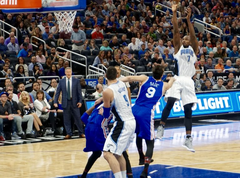 ORLANDO: Serge Ibaka and the Magic held a strong lead on the 76ers Thursday, but let it slip in the 4th. Photo: William Roebuck/Florida National News.