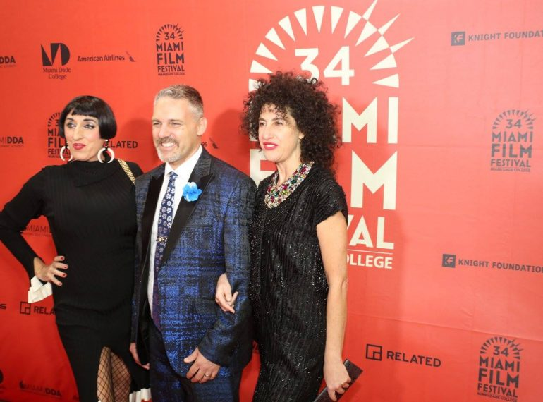 "MIAMI (FNN NEWS) - Florida National News interviews Rossy de Palma (left) on the red carpet for the ""Traveling Lady"" premiere at the 34th Miami International Film Festival. Photo: Mellissa Thomas/Florida National News."
