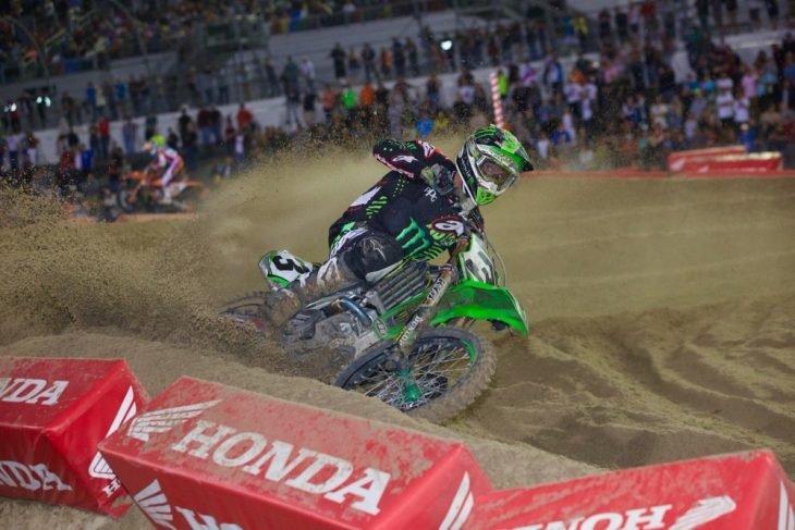 DAYTONA BEACH (FNN SPORTS) - Eli Tomac become the 9th rider to win consecutive DAYTONA Supercross victories, while Port Orange, Fla. rider Adam Cianciarulo wins the 250SX title at Daytona International Speedway Saturday, March 11, 2017. Photo: Rob Koy.