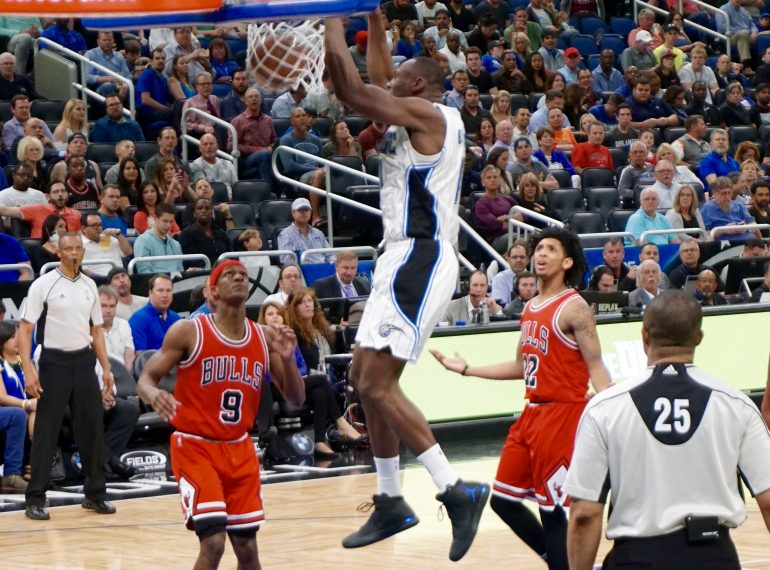 ORLANDO (FNN SPORTS) - Bismack Biyombo, Elfrid Payton and the Magic roar to life in the 2nd half against the Bulls for the win at Amway Center Wednesday. Photo: William Roebuck/Florida National News.