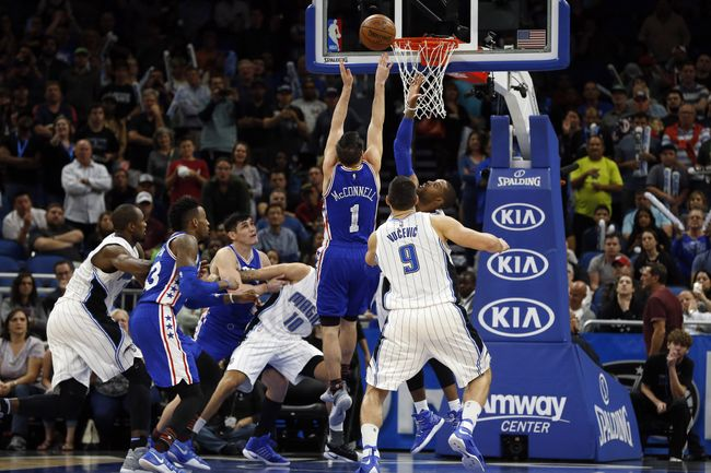 ORLANDO (FNN SPORTS) - Nikola Vucevic and the Orlando Magic resurge in the 2nd half to win against the 76ers at Amway Center Monday. Photo: Kim Klement/USA TODAY Sports.