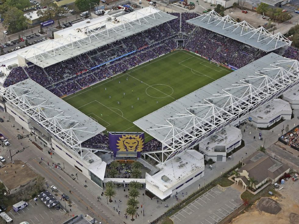 ORLANDO (FNN SPORTS) - MLS Commissioner Don Garber talks during Orlando City Soccer's season opener at Orlando City Stadium Sunday, March 5, 2017 about MLS expansions and the chance for MLS All-Star Game in Orlando. Photo: AP.