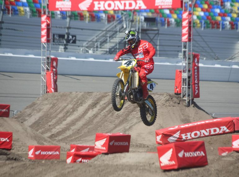 DAYTONA BEACH (FNN SPORTS) - DAYTONA Supercross By Honda course designer Ricky Carmichael does a demo ride at Daytona International Speedway Friday. Defending champion Eli Tomac aims to join a shortlist of consecutive winners in Saturday's race. Photo: Mellissa Thomas/Florida National News.
