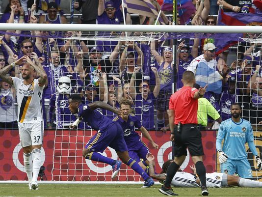ORLANDO (FNN SPORTS) - Orlando City became the 1st team in MLS history to start their opening home campaign undefeated after Cyle Larin's 4th goal of the season against L.A. Galaxy at Orlando City Stadium Saturday, April 15, 2017. Photo: Reinhold Matay/USA TODAY Sports.
