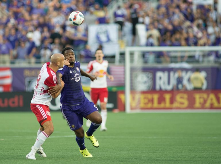 ORLANDO (FNN SPORTS) - Cyle Larin (right) and the Orlando City Lions defeat the New York Red Bulls at Orlando City Stadium Sunday, April 9, 2017. Photo: USA TODAY Sports.