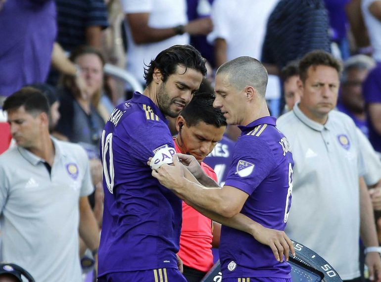 ORLANDO (FNN SPORTS) - All Star midfielder Ricardo Kaka' (left) returned as captain for Orlando City and helped secure the Lions' 5th home win at Orlando City Stadium Saturday, April 29, 2017. Photo: Kim Klement/USA TODAY Sports.