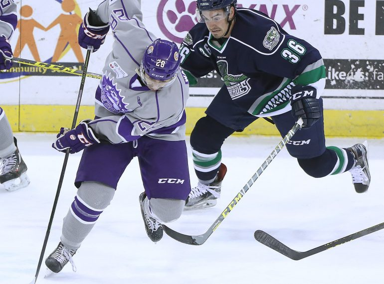 ORLANDO (FNN SPORTS) - The Orlando Solar Bears worked the puck against the Florida Everblades at Amway Center Saturday, April 22, 2017. Photo: Stephen M. Dowell/Orlando Sentinel.
