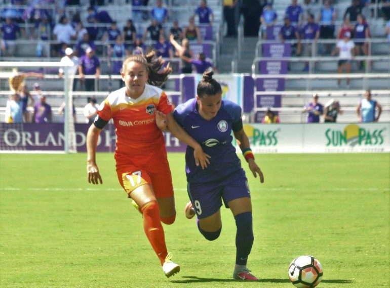 ORLANDO (FNN SPORTS): Ali Krieger and the Orlando Pride lost momentum in the first half and couldn't recover against the Houston Dash at Orlando City Stadium Saturday. Photo: J. Willie David III/Florida National News.