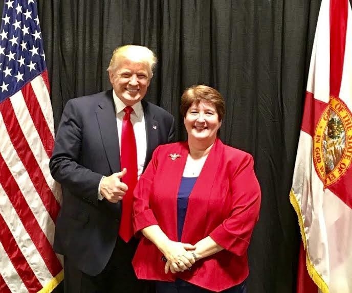 Photo courtesy of Dena Stebbins DeCamp, pictured with President Donald J. Trump.