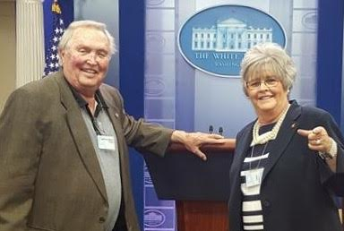 Photo courtesy of Deborah Cox Riush, pictured with her father in the White House press room.
