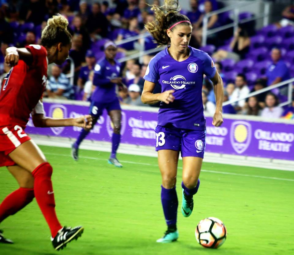 ORLANDO: Orlando Pride's Alex Morgan scored her goal in the second half in a match that shut out the Washington Spirit 3-0 at Orlando City Stadium Tuesday, August 8, 2017. Photo: Willie David/Florida National News.