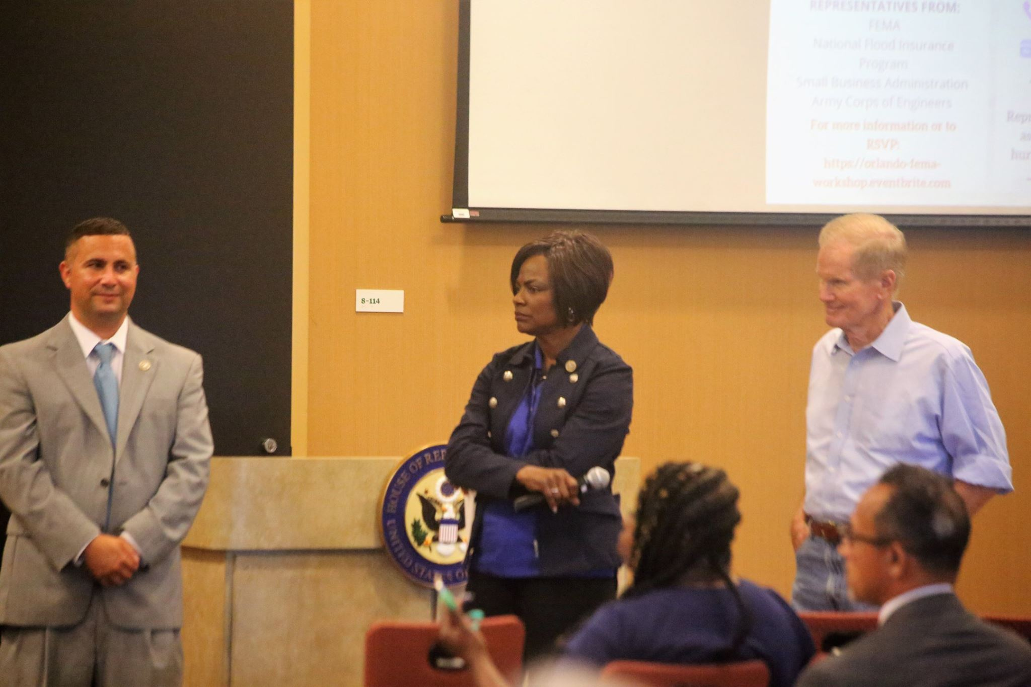 ORLANDO (FNN NEWS) - U.S. Representatives Val Demings (center) and Darren Soto (left), with U.S. Senator Bill Nelson on hand, held an informative disaster assistance workshop at Valencia College's west campus Monday. Photo: Willie David/Florida National News.