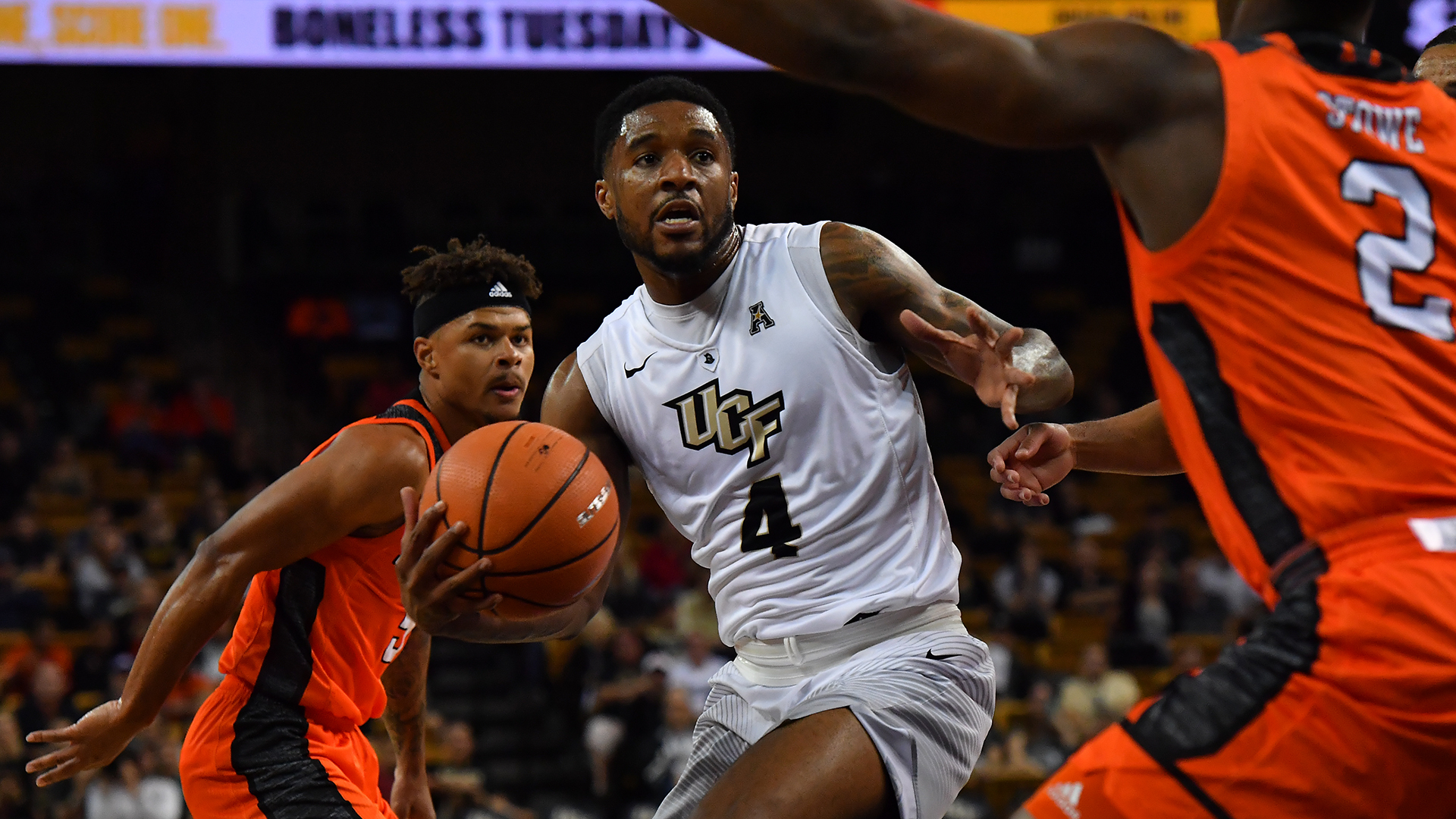 ORLANDO (FNN SPORTS) - Ceasar DeJesus (center) and the UCF men's basketball team return to action Wednesday to host Gardner-Webb at CFE Arena. Photo: UCFKnights.com.
