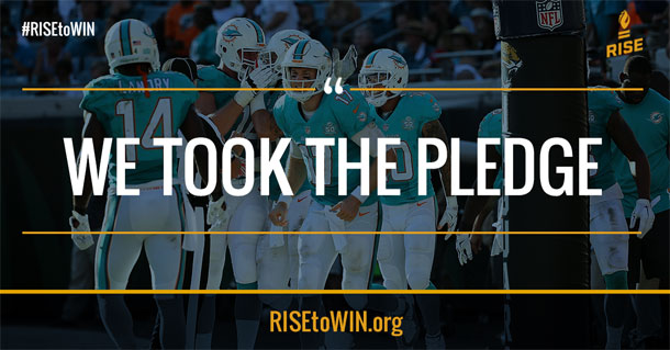 NEW YORK, NY (FNN SPORTS) - NFL and RISE will host positive change advocacy platform workshop at Morehouse College next February for athletes. Image courtesy of the Miami Dolphins.