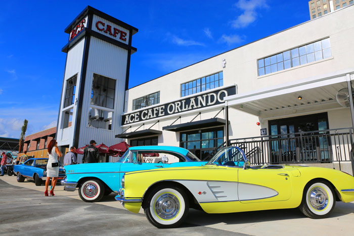 "Ace Cafe Orlando is among the Southeast stops for ""The Drive Home III: Driving The Future"" – a 10-day road rally from January 3-12, 2018, announced by America's Automotive Trust (AAT) and the North American International Auto Show (NAIAS) in August 2017. Photo credit: Ace Cafe Orlando"