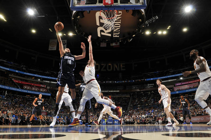 ORLANDO (FNN SPORTS) - The Cavaliers rout Evan Fournier (#10) and the Orlando Magic at Amway Center January 6, 2018. Photo: Fernando Medina/NBAE via Getty Images.