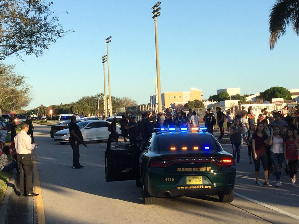 PARKLAND, Fla. (FNN NEWS) - 17 dead and multiple injured in mass shooting at Marjory Stoneman Douglas High School mass shooting Wednesday. Photo: Willie David/Florida National News.