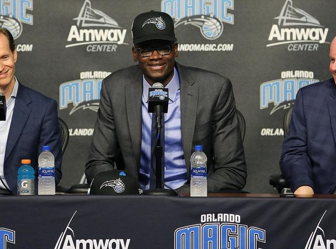 ORLANDO (FNN SPORTS) - Mohamed Bamba joins a front line that includes Nikola Vucevic, Bismack Biyombo and Khem Burch at the Center position. Photo: Stephen Dowell/Orlando Sentinel.