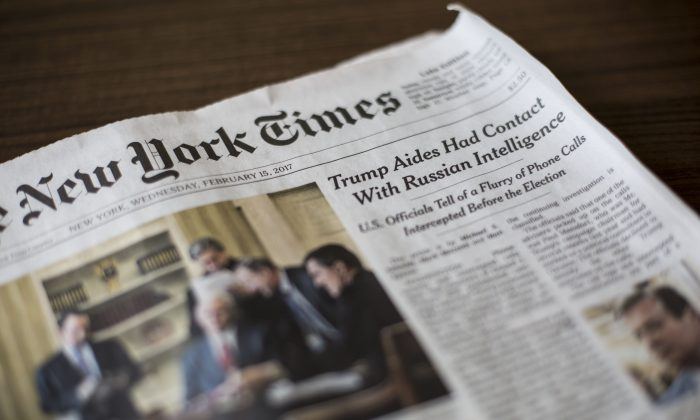 WASHINGTON (AP) — The New York Times says the federal government has seized records of one of its reporters as part of an investigation into classified leaks. Photo: Samira Bouaou/Epoch Times.