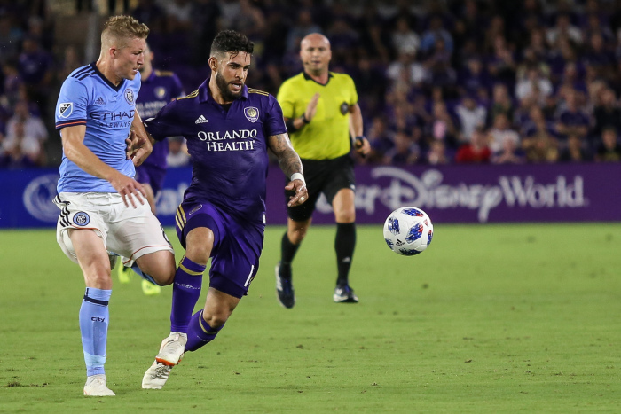 Dom Dwyer (center) and the Orlando City Lions attacked but came up short against NYCFC Thursday. Photo: Maddie Schroeder/Orlando Soccer Journal.