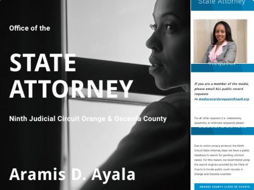 ORANGE COUNTY (FNN NEWS) - The Office of State Attorney Aramis Ayala (Ninth Judicial Circuit) announced the launch of its new website, www.sao9.net, on Twitter Monday morning. Image: Office of State Attorney Aramis Ayala.