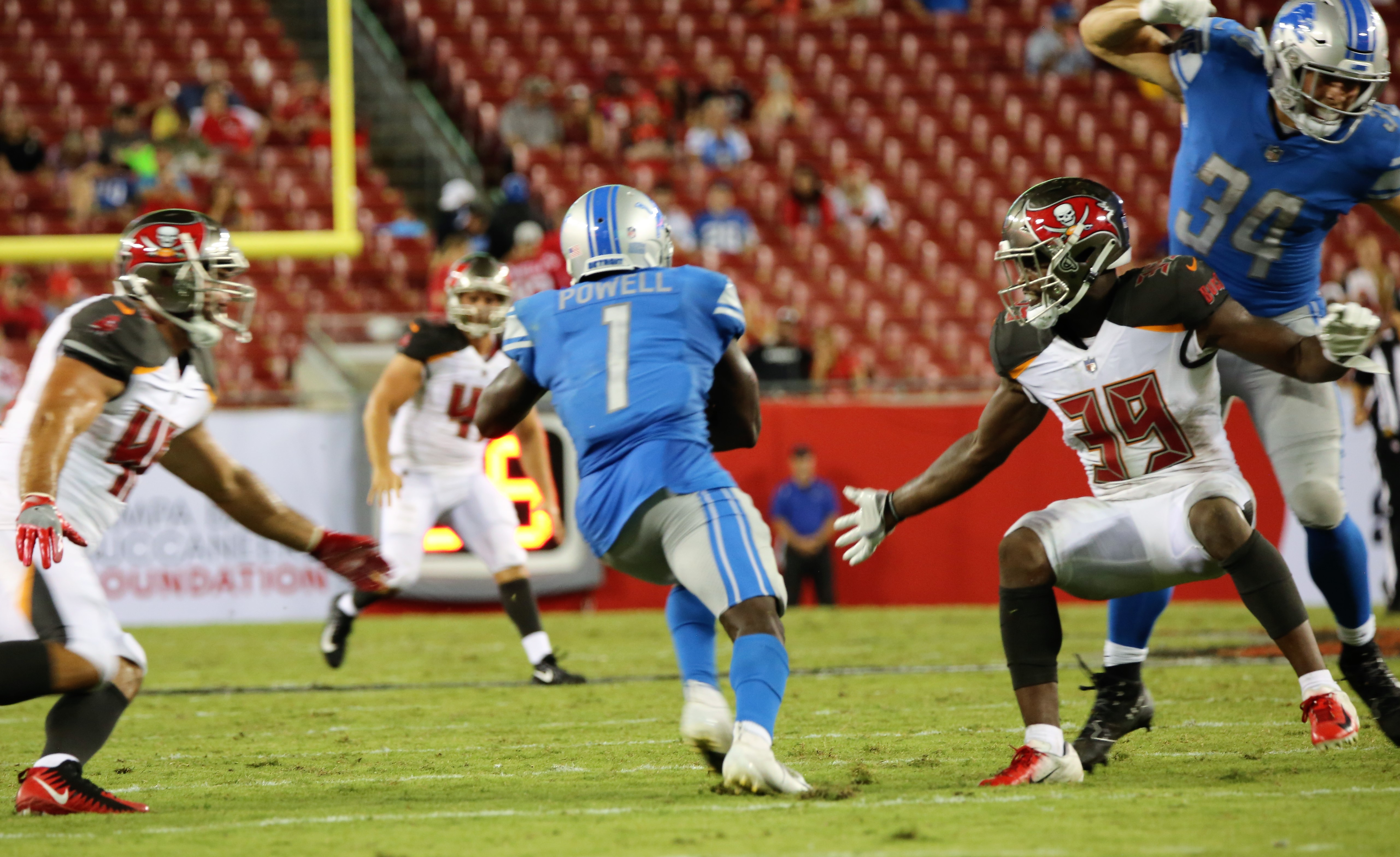 Detroit Lions running back Ameer Abdullah (21) is tackled during the second half of the NFL week 3 preseason game against the Tampa Bay Buccaneers at Raymond James Stadium in Tampa, Florida, Friday, August 24, 2018. (Florida National News photo / Willie David)