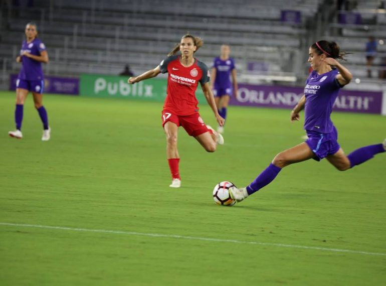ORLANDO (FNN SPORTS) - Orlando Pride forward Alex Morgan attempts a shot against Portland Saturday. Photo: Willie David/Florida National News.