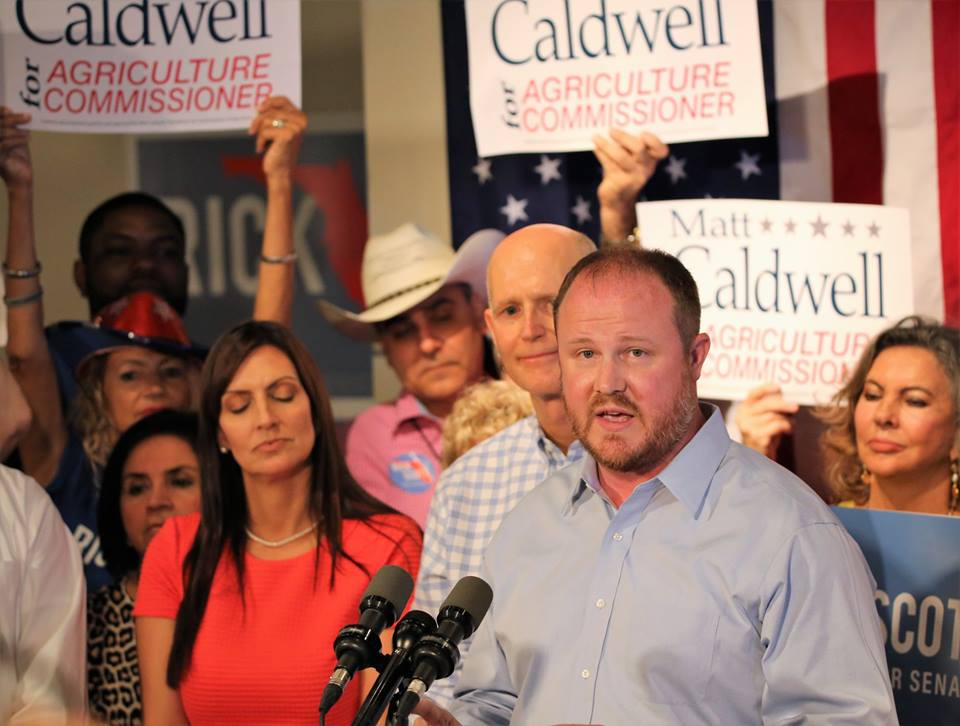 ORLANDO (FNN NEWS) - GOP Agriculture Commisssioner nominee Matt Caldwell talks jobs and water conservation at Orlando rally Thursday. Florida National News photo/Willie David