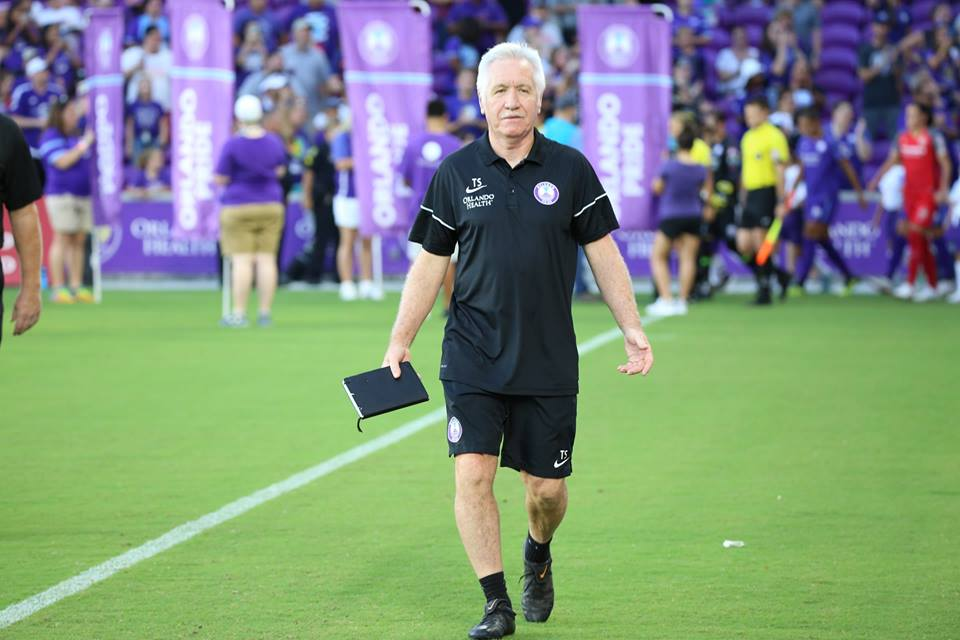 Orlando Pride Head Coach Tom Sermanni enters the Orlando City Stadium field as the Orlando Pride hosted the Portland Thorns in August. Florida National News photo: Willie David.