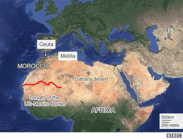 A map of Spain and Africa shows a line from the west coast of Africa that runs the current length of Trump's Mexico border wall. Source: BBC News.