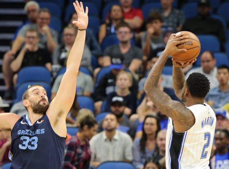 Orlando's Jarell Martin (2) fires off a shot against the Memphis Grizzlies at Amway Center Wednesday, October 10, 2018. Photo: Willie David/Florida National News.