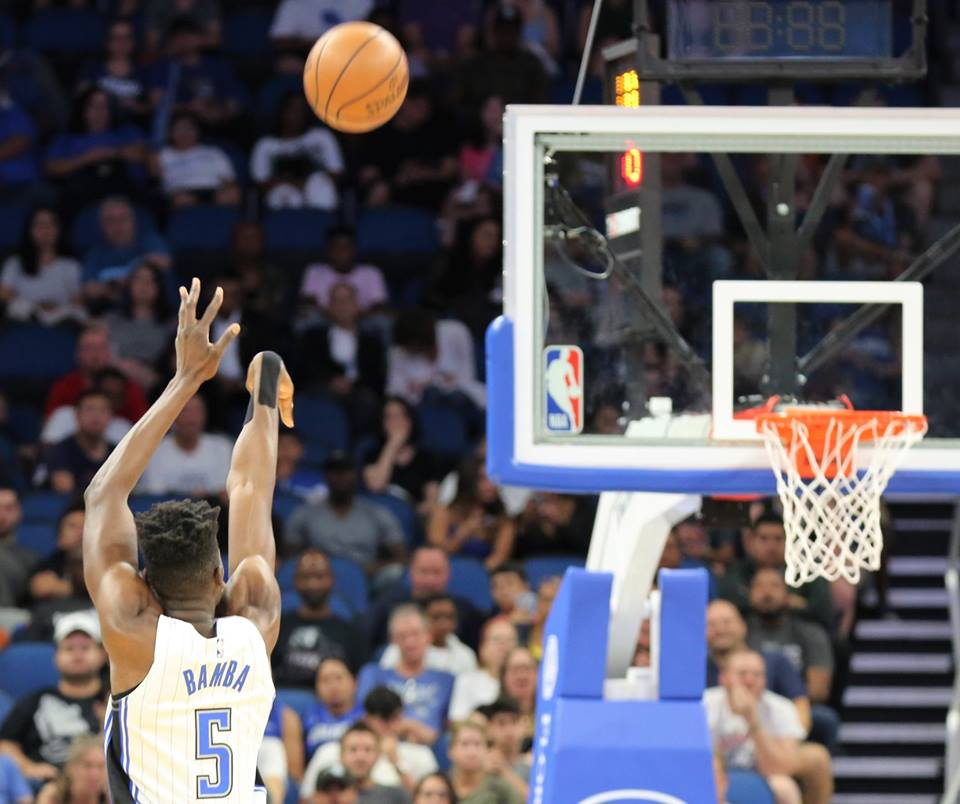 Mohamed Bamba (5) and the Orlando Magic didn't quite have the momentum they needed to face the San Antonio Spurs at Amway Center Friday, October 12, 2018. Photo: Willie David/Florida National News.
