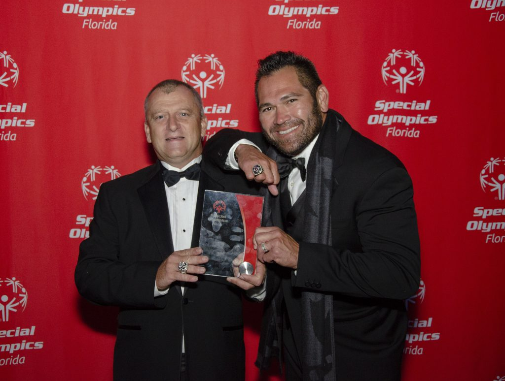 """Left to right: Special Olympics FL """"Athlete of the Year"""" Donald Singleton and Johnny Damon (All Star MLB Player – 2 World Series). Photo: Special Olympics Florida."""